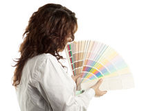 Woman with Color Swatch Royalty Free Stock Photography