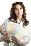 Woman with Color Swatch. Woman with Painter Cloth and Color Swatch, Isolated on White stock images
