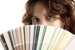 Woman with Color Swatch Royalty Free Stock Image