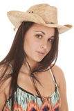 Woman color top hat serious Stock Image