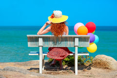 Woman with colored balloons Royalty Free Stock Photo