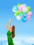Woman Colored Balloons, Young Girl Flying Blue Sky Stock Images