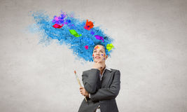 Woman with colored head Royalty Free Stock Images