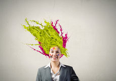 Woman with colored head Stock Image