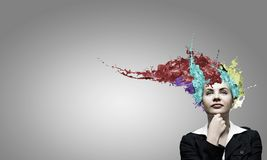 Woman with colored head Royalty Free Stock Photo