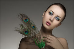 Woman with colored make-up Royalty Free Stock Photography