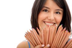 Woman with colored pencils  Royalty Free Stock Photo