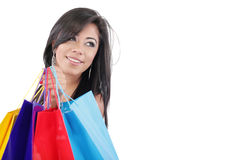 Woman with colored shopping bags Stock Images
