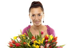 Woman with Colored Tulips. Attractive Woman with Colored Tulips Stock Photo