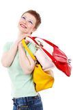 Woman with colorful bags Royalty Free Stock Photography