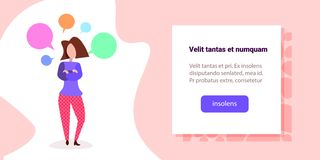 Woman colorful chat bubbles speech communication concept female cartoon character horizontal copy space flat full length Royalty Free Illustration