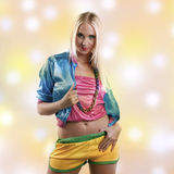 Woman in colorful dance outfit Stock Photo