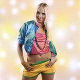 Woman in colorful dance outfit Stock Image