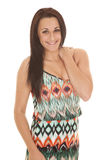 Woman colorful design dress smile Royalty Free Stock Photo