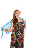 Woman colorful dress blue sarong tattoo on arm Royalty Free Stock Photography