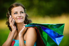 Woman in colorful dress of said Stock Image