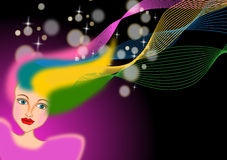 Woman with colorful dyed hair. Illustration background vector illustration