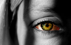 Woman with colorful eye Royalty Free Stock Photos