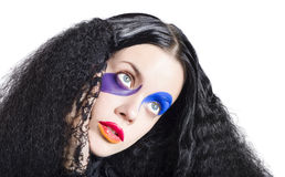 Woman in colorful fashion make up Stock Images