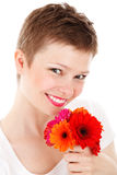 Woman with colorful flowers Royalty Free Stock Photos