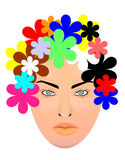 Woman and colorful flowers Stock Photos