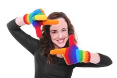 Woman with colorful gloves Royalty Free Stock Images