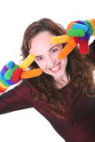 Woman with colorful gloves Stock Photography