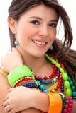 Woman with colorful jewelry Royalty Free Stock Photography