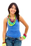 Woman with colorful jewelry Stock Photo