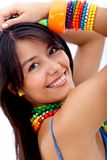 Woman with colorful jewelry Stock Image