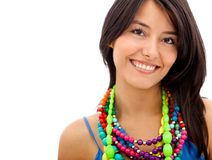 Woman with colorful jewelry Stock Photos