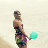 Woman  with colorful latex balloon Royalty Free Stock Photos