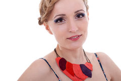 Woman with colorful leather necklace Royalty Free Stock Photos