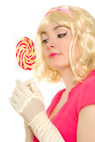 Woman with colorful lollipop Royalty Free Stock Photo