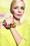 Woman in a colorful make-up. Beautiful woman in a colorful make-up Stock Photo