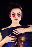 Woman with Colorful Makeup. Fashion Model with Creative Makeup Royalty Free Stock Images
