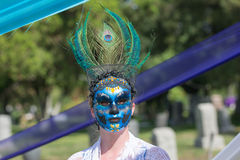 Woman with colorful ornament on the head and sugar skull Royalty Free Stock Photos