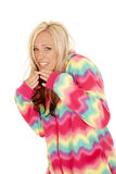 Woman in colorful pajamas stand laugh Stock Images