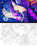 Woman colorful portrait and line art Royalty Free Stock Image