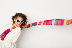 Woman with colorful scarves Royalty Free Stock Photos