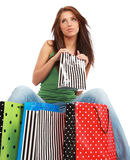 Woman with colorful shopping bag Stock Photos