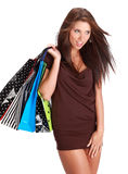 Woman with colorful shopping bag Stock Image