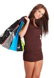 Woman with colorful shopping bag Royalty Free Stock Photography