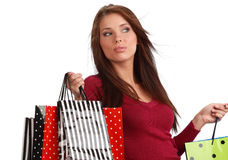 Woman with colorful shopping bags. Stock Images