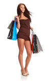 Woman with colorful shopping bags. Stock Photos