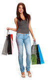 Woman with colorful shopping bags. stock photography