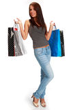 Woman with colorful shopping bags. Stock Photo