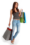 Woman with colorful shopping bags Royalty Free Stock Photo