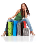 Woman with colorful shopping bags Stock Photos