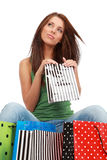 Woman with colorful shopping bags Stock Photography